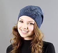 Женская шапка темно синяя с рисунком