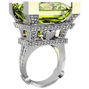 Кольцо  женское серебряное Эйфелева Башня 211240