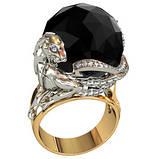 Кольцо  женское серебряное Пантера с Черным Жемчугом 211210, фото 2