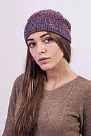 Очаровательная меланжевая шапочка лиловая, фото 1
