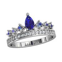 Кольцо серебряное Корона Сапфир 211130