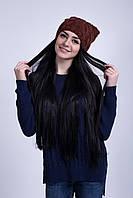 Молодежная шапка крупной вязки с ушками