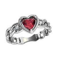 Кольцо  женское серебряное Сердце на Цепи 211150