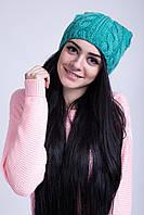 Яркая зимняя шапка с трендовыми ушками
