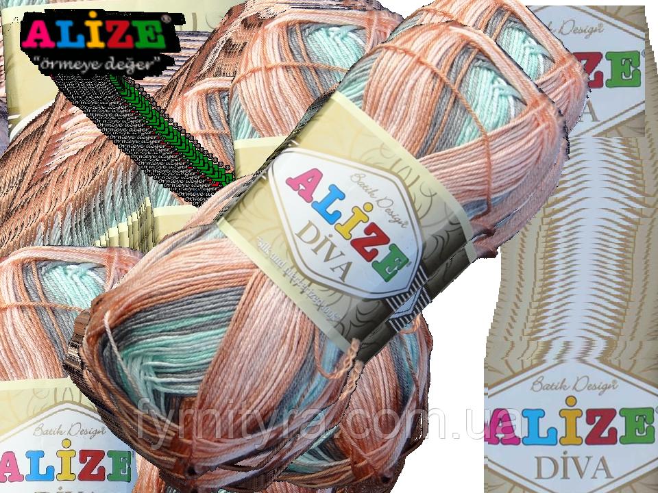 Пряжа Alize DIVA BATIK 5550 серый-персик-св.изумруд