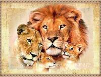 """Картина для рисования камнями Diamond painting Алмазная вышивка """"Семья львов"""" частичная выкладка"""