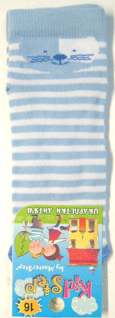 Летние детские носки в сетку голубого цвета полоска