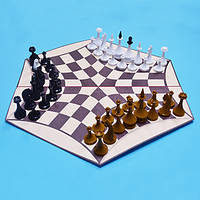 Русские шахматы - шахматы на троих (доска картон)