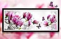 """Картина для рисования камнями Алмазная вышивка мозаика """"Магнолия и бабочки"""" 1,05 м, фото 1"""