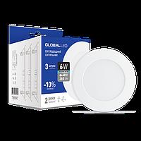 Светодиодная панель (мини) GLOBAL LED SPN 6W яркий свет (3шт. в уп) (3-SPN-004)