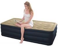 Надувная велюр кровать Intex 203х152х46 см со встроенным насосом