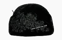 Handmade - Косметичка ручной работы, вышитая атласными лентами, Black