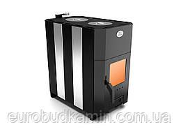 Отопительно-варочная печь (с двумя конфорками и стеклом) 100-200м.куб. новаслав огнев