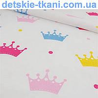 Хлопковая ткань с разноцветными коронами (№102)
