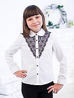 Белая школьная блузка с гипюром для девочки., фото 1