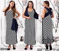Женское летнее платье без рукавов в крупную полоску.
