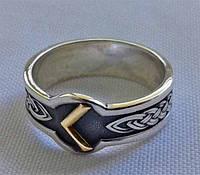 Кольцо с золотой Руной Кано, Кеназ (Kenaz) с чернением