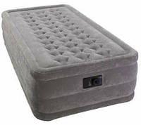 Надувная велюр кровать Intex 203х102х46 см со встроенным насосом
