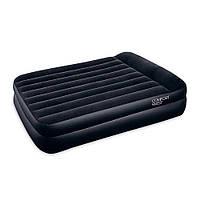Надувная кровать двуспальная с встроенным насосом на 220V 203х163х48 см флок, винил