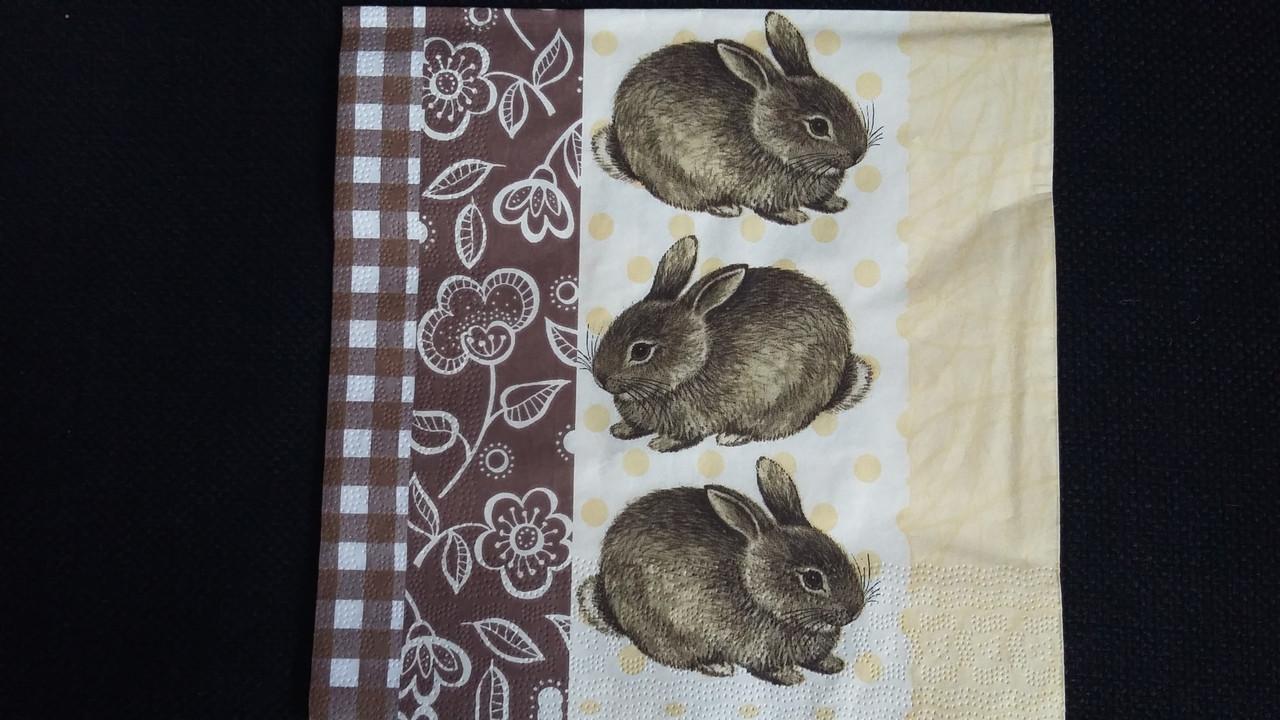 "Салфетка для декупажа ""Кролики"", 33х33см, 6"