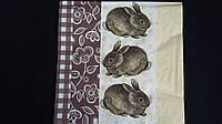 """Салфетка для декупажа """"Кролики"""", 33х33см, 6 , фото 1"""