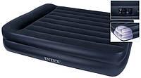 Надувная велюр кровать Intex 208х163х50 см со встроенным насосом