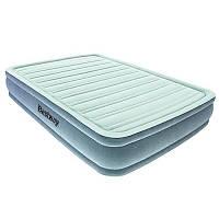 Надувная кровать односпальная с встроенным насосом 191х137х36 см винил, флок