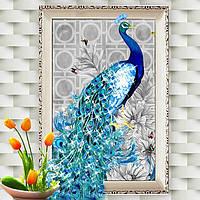 "Картина для рисования камнями Diamond painting Алмазная вышивка ""Павлин синий"", фото 1"