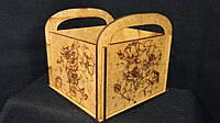 Кадка деревянная с ручками 13х13х9 см (100\70) (цена за 1 шт. +30 грн.)