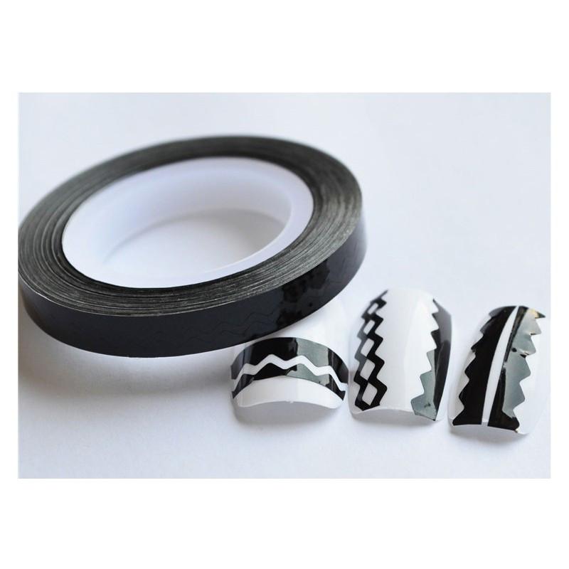 Лента для дизайна ногтей, черный голографик, 20 м