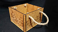 Кадка деревянная с ручками 13х13х9 см 100\70 (цена за 1 шт. +30 грн.)