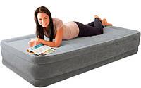Надувная кровать односпальная с встроенным насосом 99х191х33 см