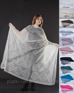 Оренбургский пуховый платок паутинка 160х160 см. Цвет: черный.