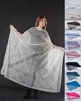 Оренбургский пуховый платок паутинка 160х160 см. Цвет: белый, черный.