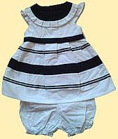 Бело-синий костюм для девочки 3 мес.: платье и шортики