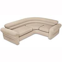 Угловой велюровый диван Corner Sofa 257 х 203 х 76 см флок, бежевый