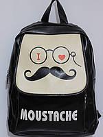 Рюкзак стильный Усы кож.зам черный, фото 1