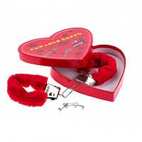 Наручники красные мягкие сердечко,подарок любимому