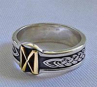 Кольцо с золотой Руной Дагаз (Dagaz) с чернением