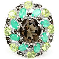 Серебряное кольцо 925 пробы с натуральными камнями: дымчатым кварцем, авантюрином и хризолитом