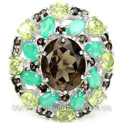 Серебряное кольцо 925 пробы с натуральными камнями: дымчатым кварцем, авантюрином и хризолитом. Размер 16,5