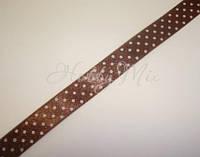 Лента коричневая в белый горошек