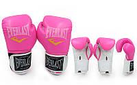 Перчатки боксерские женские PU ELAST BO-5035 (р-р 8-10oz, розовый-белый)