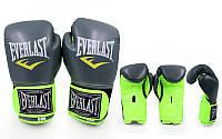 Перчатки боксерские женские PU ELAST BO-5036 (р-р 8, 10oz, серый (графит)-салатовый)