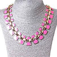 [10-15 мм.] Ожерелье Звенья металл Gold и розовая эмаль