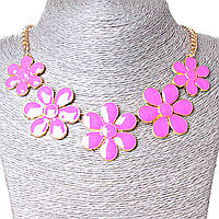 [30х40 мм.] Ожерелье Ромашки металл Gold и розовый глянец