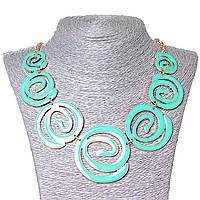 [30х55 мм.] Ожерелье Акварель, вставки спиралью на убывание, металл Gold и глянец  аквамарин
