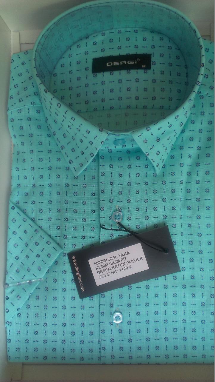 Чоловіча сорочка норма DERGI з коротким рукавом приталені код 1120-2