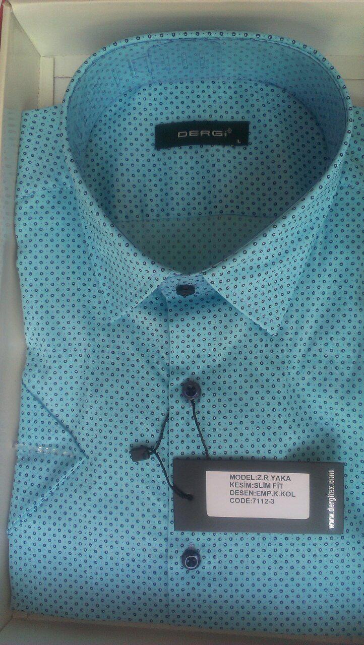 Мужская рубашка норма DERGI с коротким рукавом приталенная код 7112-3