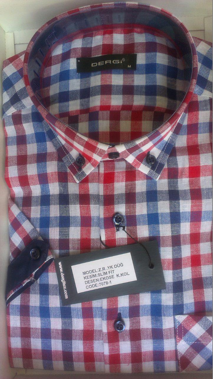 Мужская рубашка норма DERGI с коротким рукавом приталенная лен код 7078-1